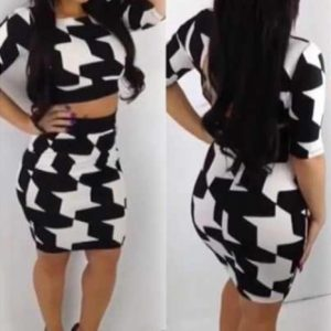 Black and white two pieces bodycon dress