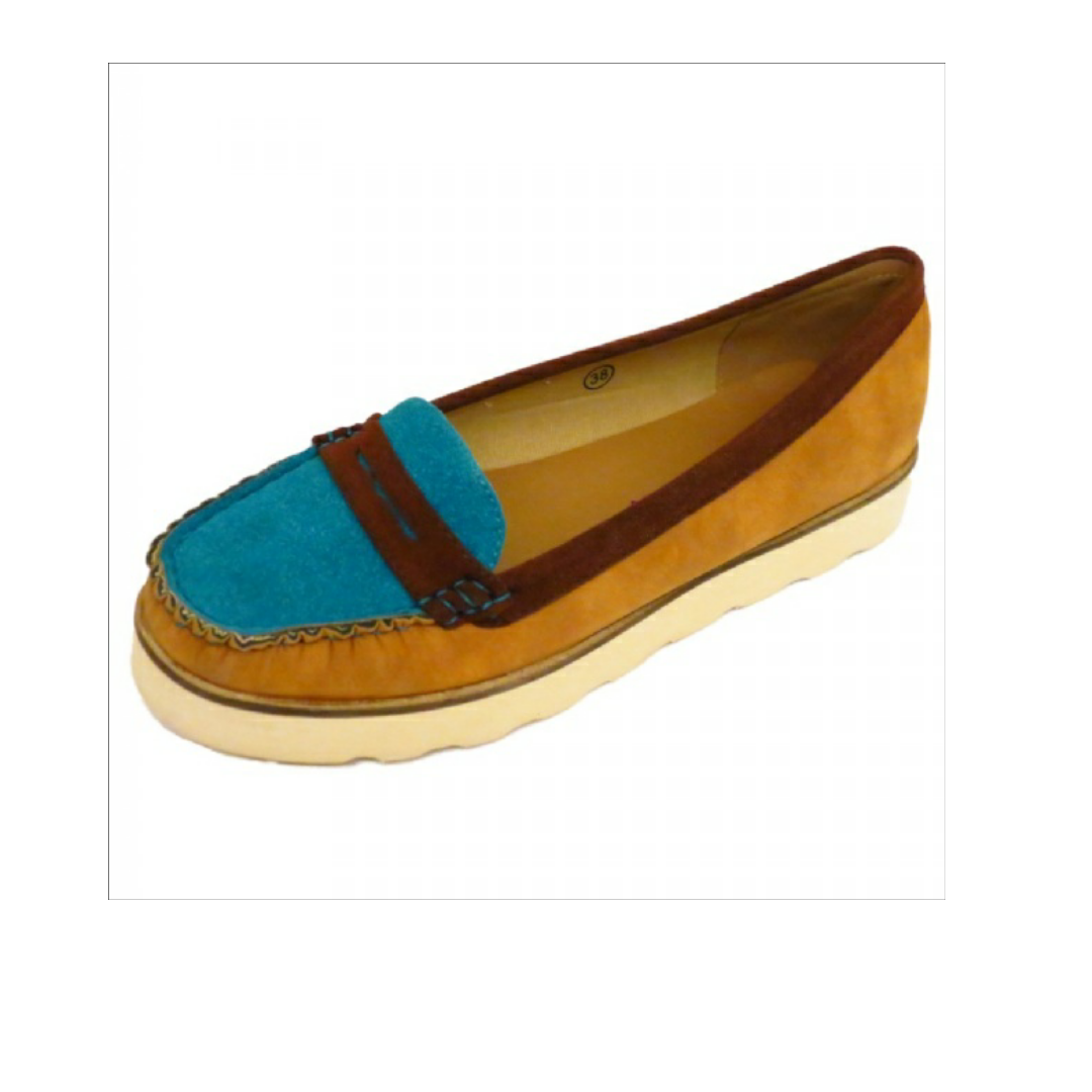 Ladies Dolcis Flat Burgundy Turquoise Slip On Moccasin Emfed